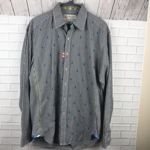 Robert Graham Blue Guitars Shirt Large